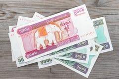 Cédulas do kyat de Myanmar Imagens de Stock