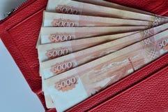 Cédulas do russo 5000 rublos na carteira vermelha das mulheres fotografia de stock