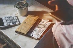 Cédulas dos dólares americanos Foto de Stock