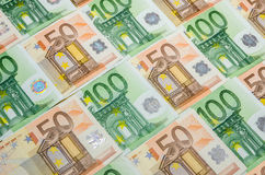 Cédulas 50 e close up do euro 100 Imagem de Stock