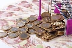 Cédulas e moedas da lira turca com a finança do carrinho de compras concentrada Imagens de Stock