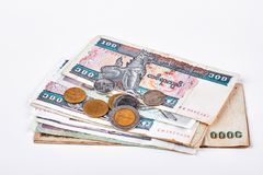 Cédulas e moedas de Myanmar Imagens de Stock Royalty Free