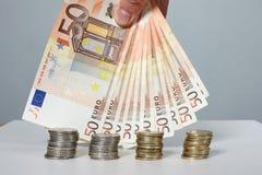 Cédulas e moedas Dinheiro Foto de Stock Royalty Free