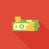 Cédulas e moedas do dólar Fotografia de Stock Royalty Free