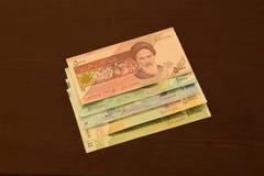 Cédulas iranianas, 5000 riais, 10000 riais, 20000 riais, 50000 riais e 100000 riais fotografia de stock