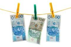 Cédulas polonesas do zloty na corda Fotografia de Stock Royalty Free