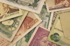 Cédulas velhas das moedas imagem de stock