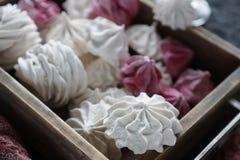 Céfiro hecho en casa de la vainilla y de la frambuesa, melcochas rosadas y blancas deliciosas Imagenes de archivo