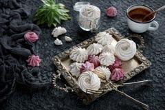 Céfiro hecho en casa de la vainilla y de la frambuesa, melcochas rosadas y blancas deliciosas imagen de archivo libre de regalías