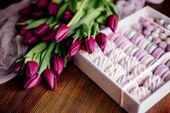 Céfiro, macarrones y tulipanes imagenes de archivo