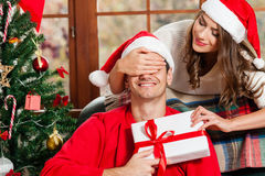 Célébrant Noël ensemble Photographie stock libre de droits