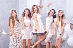 Célébration élégante heureuse de cinq jeunes femmes Photographie stock