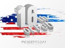 Célébration américaine des Présidents Day avec le texte 3D Images stock