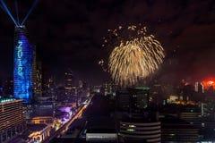 Célébration BANGKOK, THAÏLANDE de nouvelles années de feu d'artifice - 31 décembre, Image libre de droits