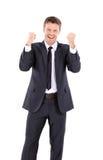 Célébration belle chanceuse d'homme d'affaires Homme riant de gagnant Image stock