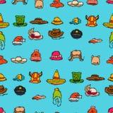 Célébration carnaval de partie d'accessoire de mode de chapeau de vacances différentes pour le fond sans couture de modèle d'habi illustration stock