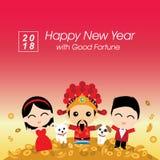 Célébration chinoise de nouvelle année avec un dieu de la fortune Images libres de droits