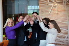 Célébration d'équipe d'affaires photos libres de droits