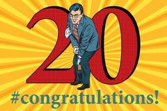 Célébration d'événement d'anniversaire des félicitations 20 Images stock