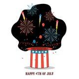 Célébration d'isolement de bande dessinée de Jour de la Déclaration d'Indépendance de l'Amérique illustration libre de droits