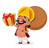 Célébration d'Onam Le Roi Mahabali tenant le parapluie et le boîte-cadeau, personnage de dessin animé gai illustration libre de droits