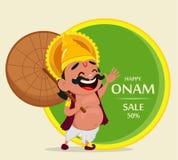 Célébration d'Onam Le Roi Mahabali tenant le parapluie, personnage de dessin animé gai illustration stock