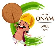 Célébration d'Onam Le Roi Mahabali tenant le parapluie, personnage de dessin animé gai illustration de vecteur