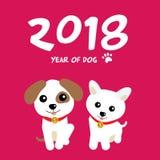 Célébration de 2018 avec les chiens mignons Image stock