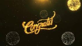 Célébration de Congrats, souhaits, saluant le texte sur le feu d'artifice d'or illustration de vecteur
