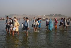 Célébration de festival de dussehra de Ganga dans Allahabad Photos libres de droits