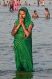 Célébration de festival de dussehra de Ganga dans Allahabad Photo libre de droits