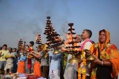 Célébration de festival de dussehra de Ganga dans Allahabad Photographie stock