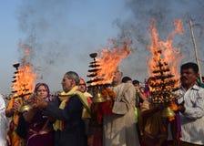 Célébration de festival de dussehra de Ganga dans Allahabad Image stock