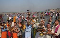 Célébration de festival de dussehra de Ganga dans Allahabad Photos stock