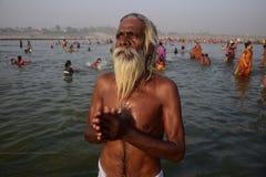 Célébration de festival de dussehra de Ganga dans Allahabad Image libre de droits