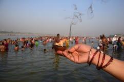 Célébration de festival de dussehra de Ganga dans Allahabad Photographie stock libre de droits