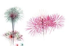 Célébration de feu d'artifice sur le contexte blanc Photos stock