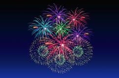 Célébration de feux d'artifice et le fond crépusculaire de ciel Images libres de droits