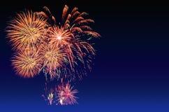 Célébration de feux d'artifice et le fond crépusculaire de ciel Photos stock