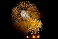 Célébration de feux d'artifice la nuit Image stock