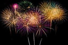 Célébration de feux d'artifice la nuit sur l'espace de nouvelle année et de copie Photo stock