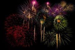 Célébration de feux d'artifice la nuit sur l'espace de nouvelle année et de copie Photos stock