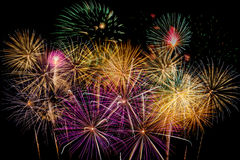Célébration de feux d'artifice la nuit sur l'espace de nouvelle année et de copie - ABS Image libre de droits