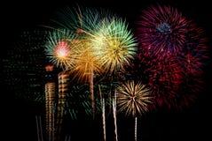 Célébration de feux d'artifice la nuit sur l'espace de nouvelle année et de copie - ABS Photo libre de droits