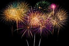 Célébration de feux d'artifice la nuit sur l'espace de nouvelle année et de copie - ABS Image stock