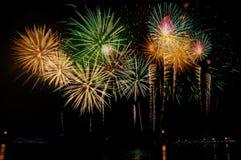 Célébration de feux d'artifice la nuit sur l'espace de nouvelle année et de copie - ABS Photos libres de droits