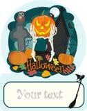 Célébration de Halloween Potiron sur le cimetière sur le fond foncé Photos stock