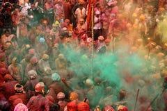 Célébration de Holi chez Nandgaon Image libre de droits