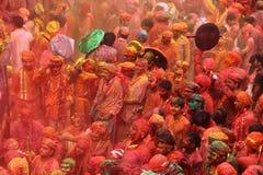 Célébration de Holi chez Nandgaon Photos stock