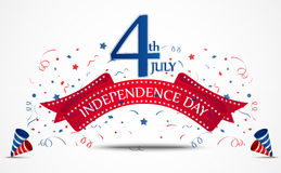 Célébration de Jour de la Déclaration d'Indépendance avec des confettis illustration stock